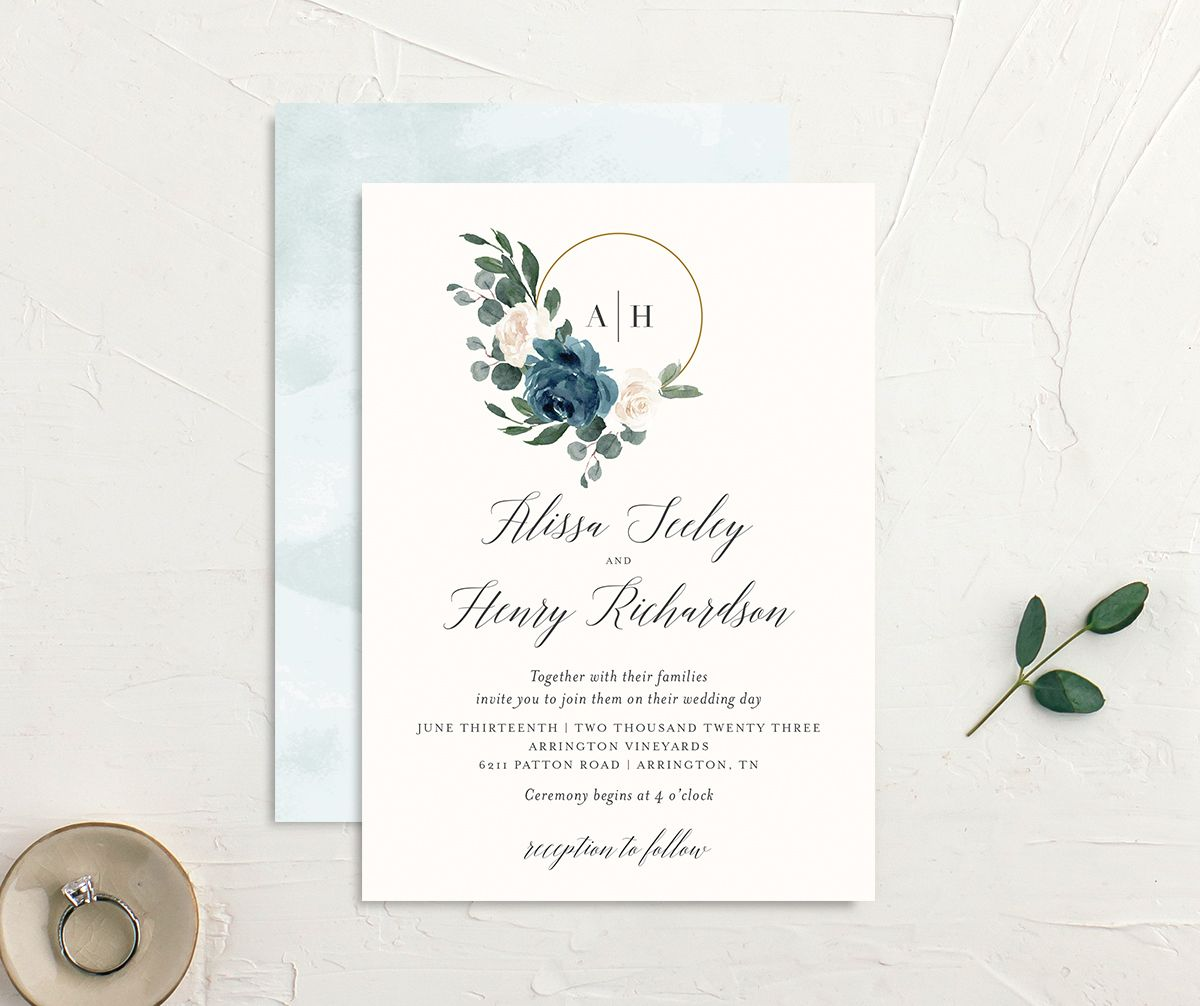 Floral Hoop Wedding Invitation front & back in teal