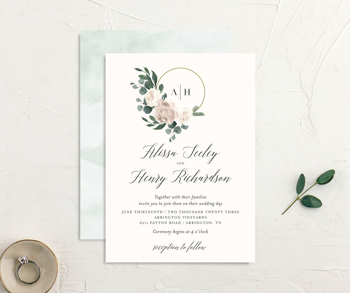 Floral Hoop Wedding Invitation front & back in white