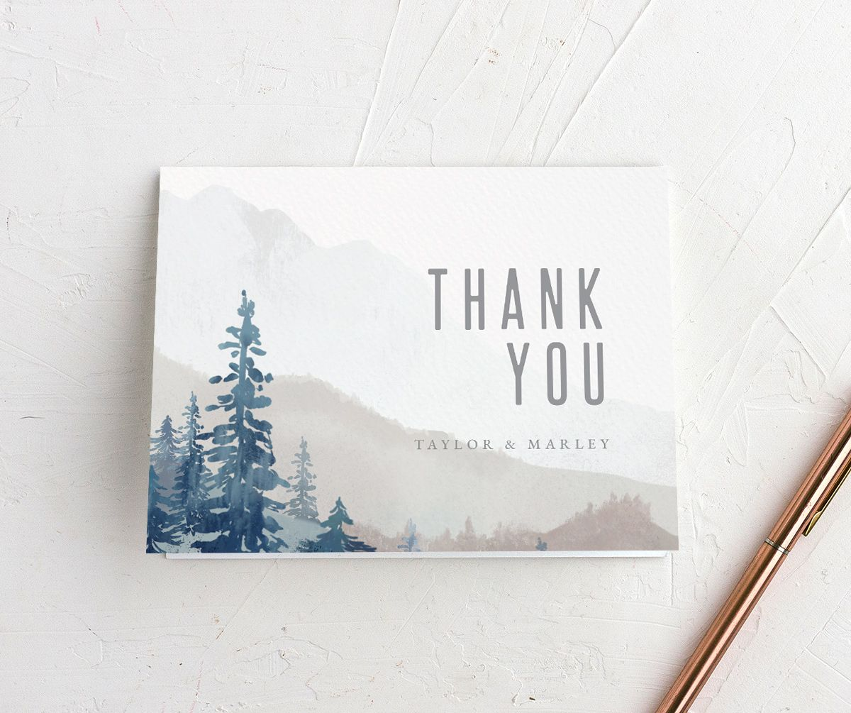 Painted Mountains Thank You Card front in blue
