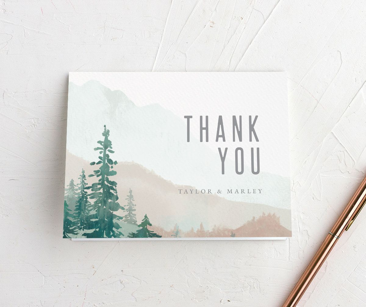 Painted Mountains Thank You Card front in green