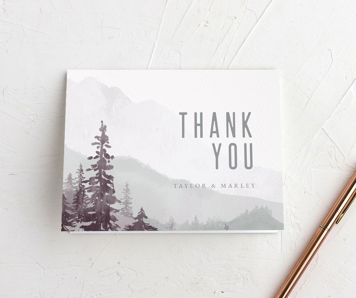 Painted Mountains Thank You Card front in purple