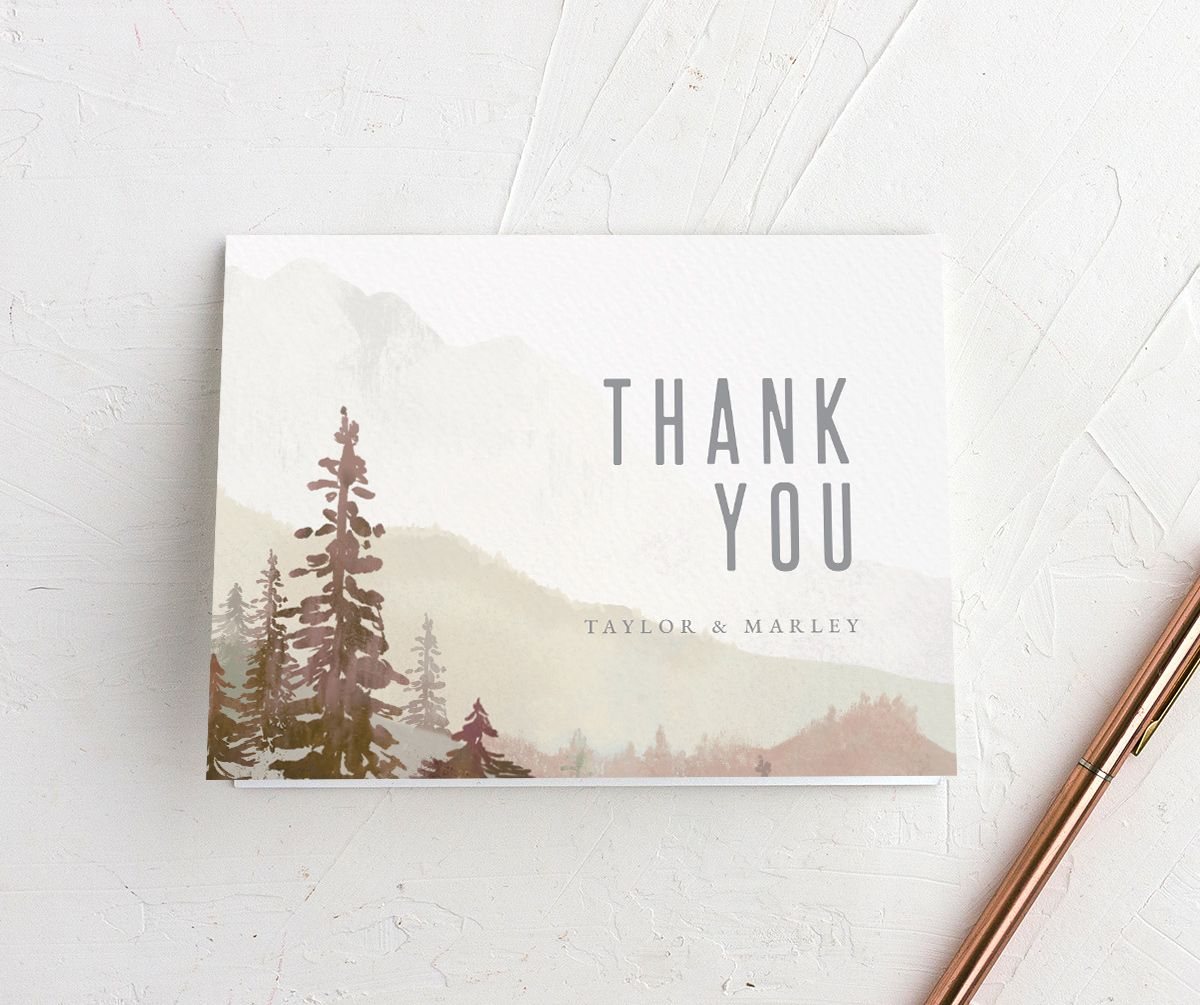 Painted Mountains Thank You Card front in red