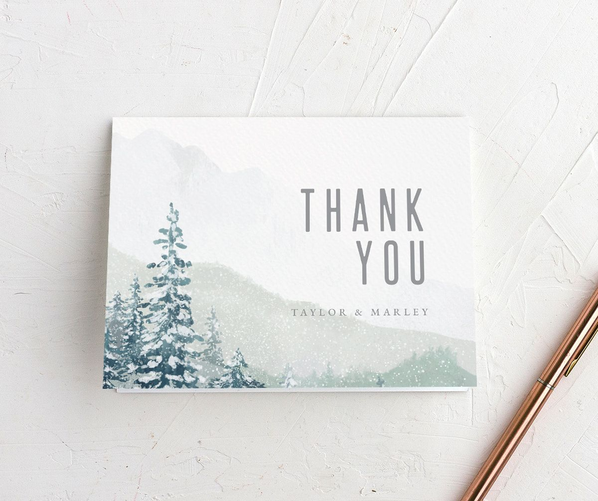 Painted Mountains Thank You Card front in teal