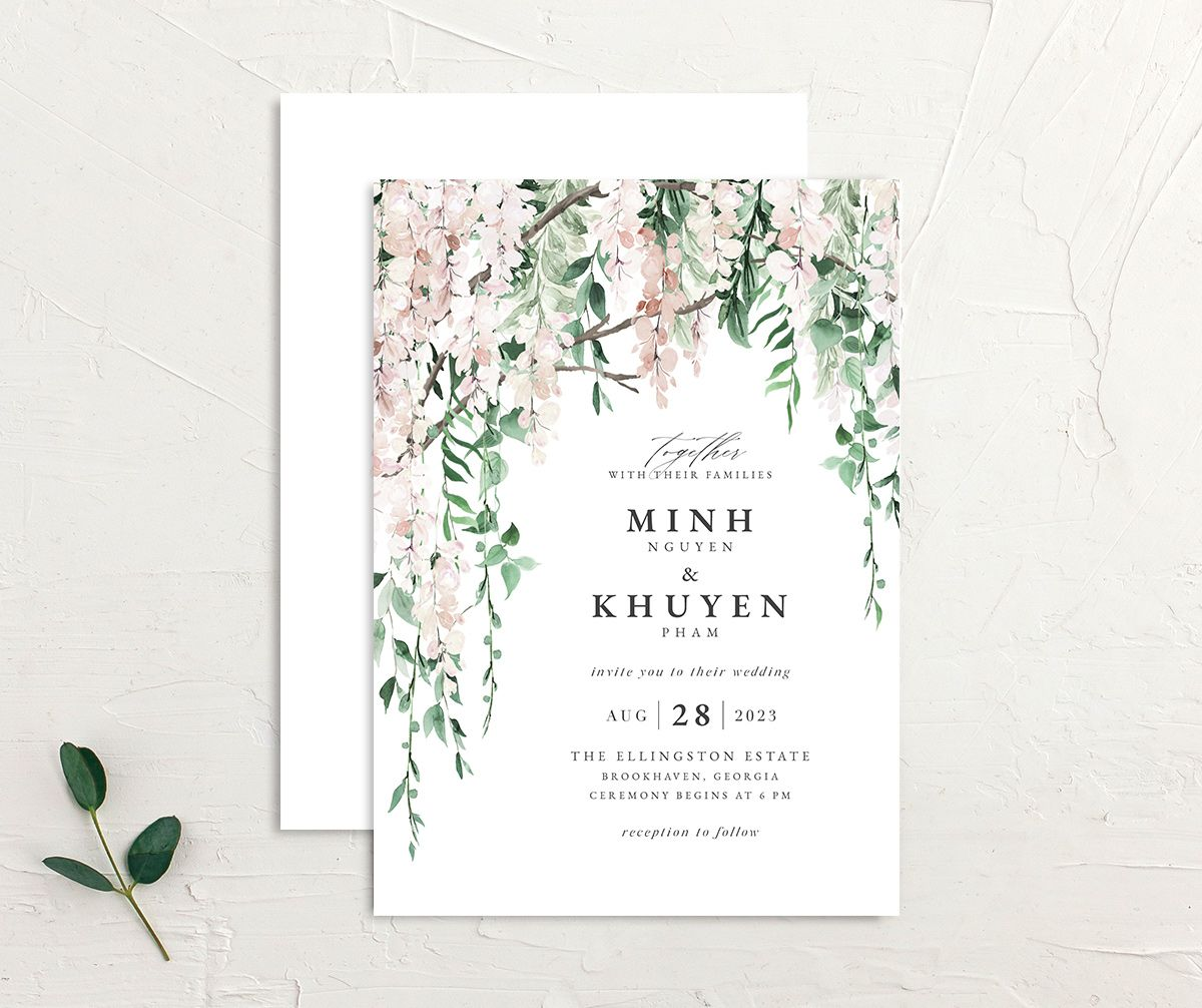Romantic Wisteria Wedding Invitation front and back in pink