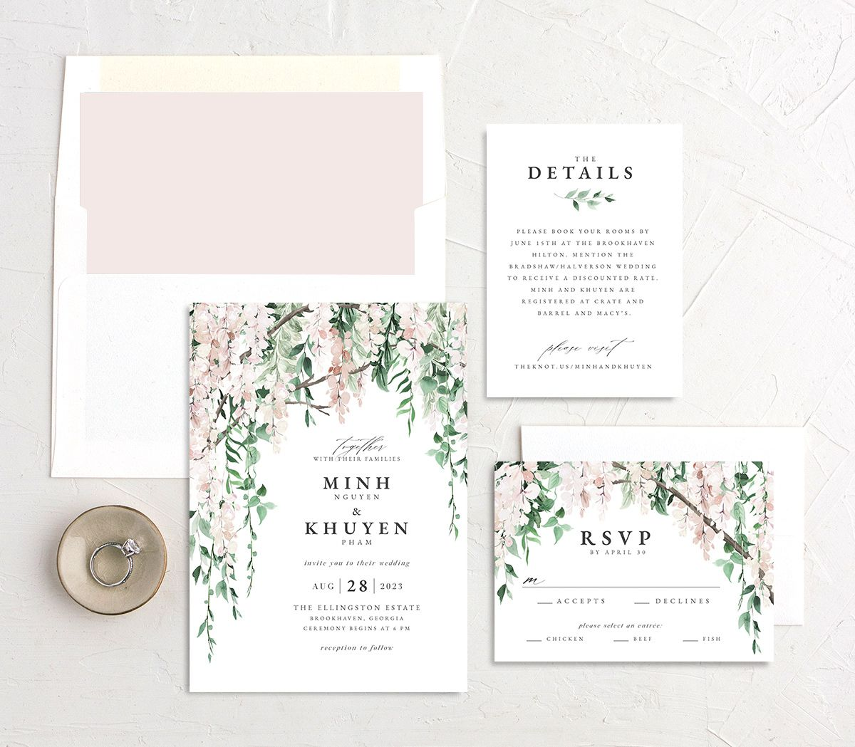 Romantic Wisteria wedding stationery suite in pink