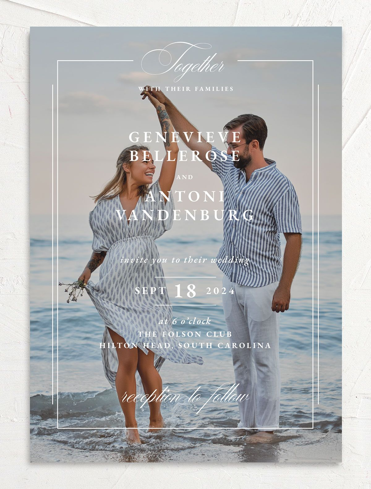 Elegant Photograph wedding invitation front