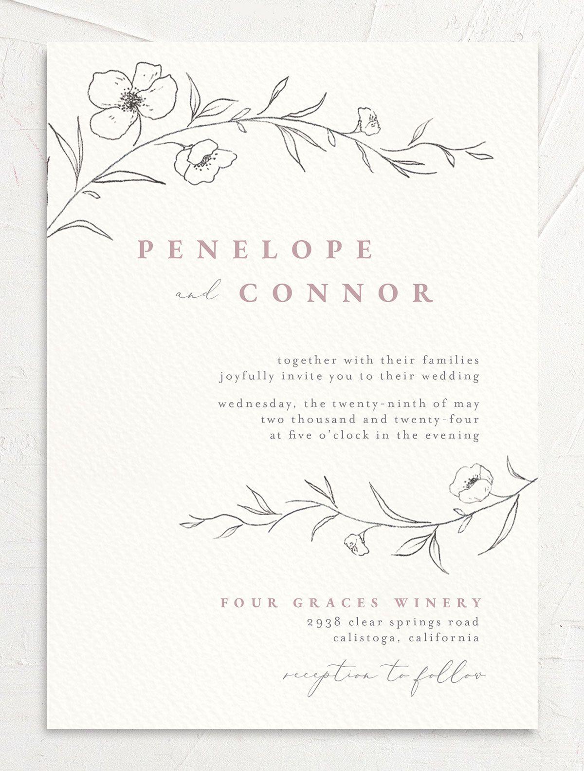 Graceful Botanical Wedding Invitation front in pink