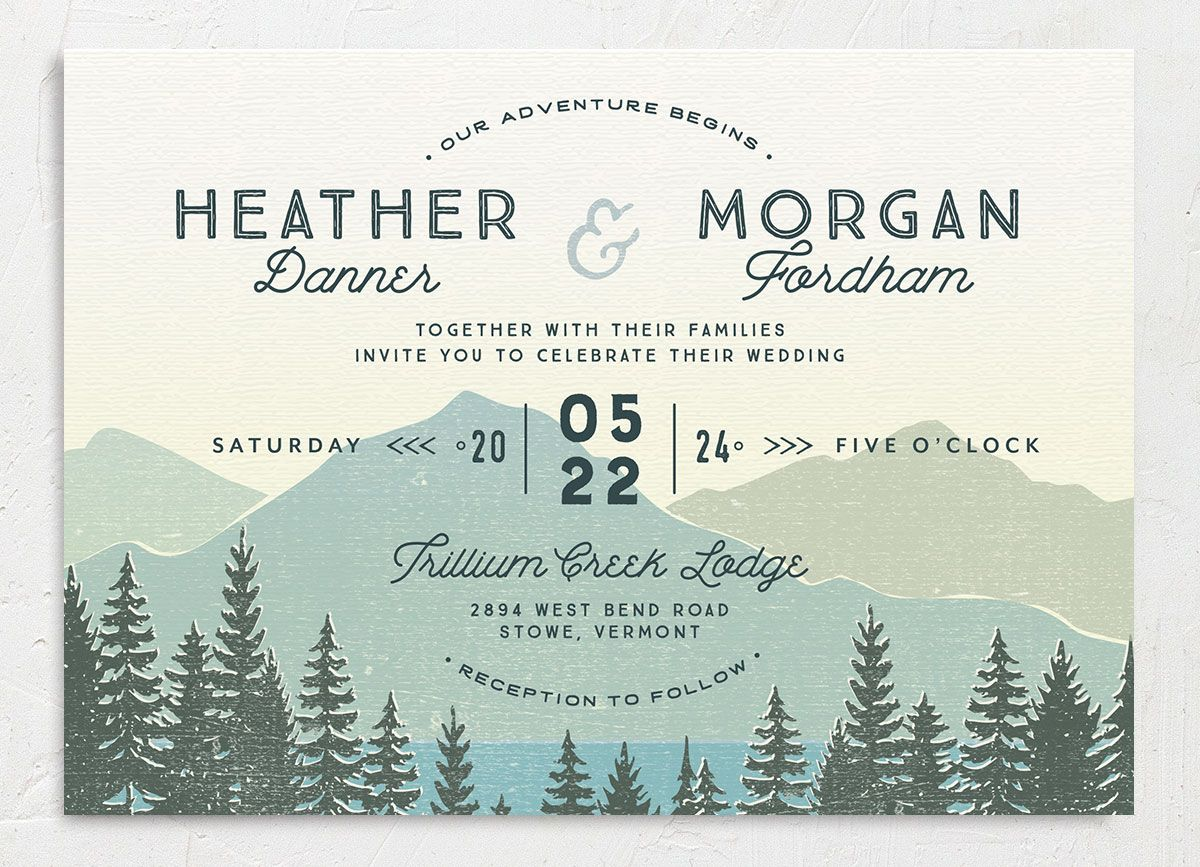 Vintage Mountain wedding invitation front in teal