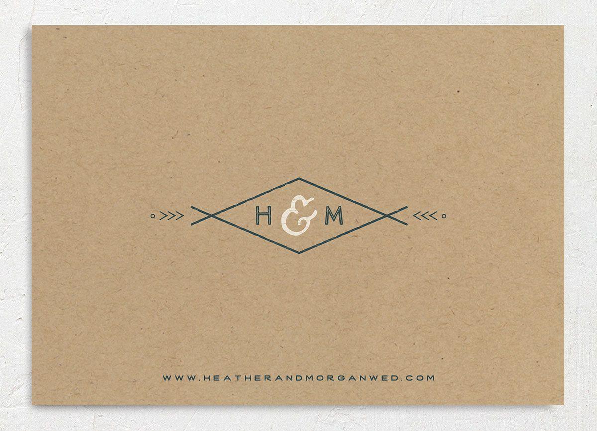 Vintage Mountain wedding invitation back in teal