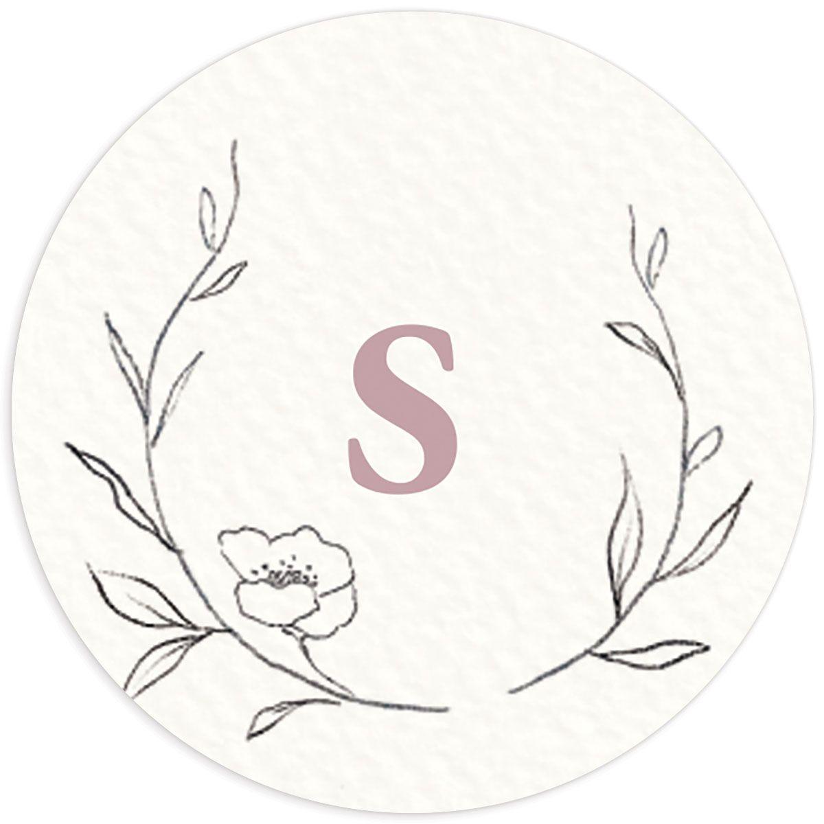 Graceful Botanical Wedding Sticker in pink