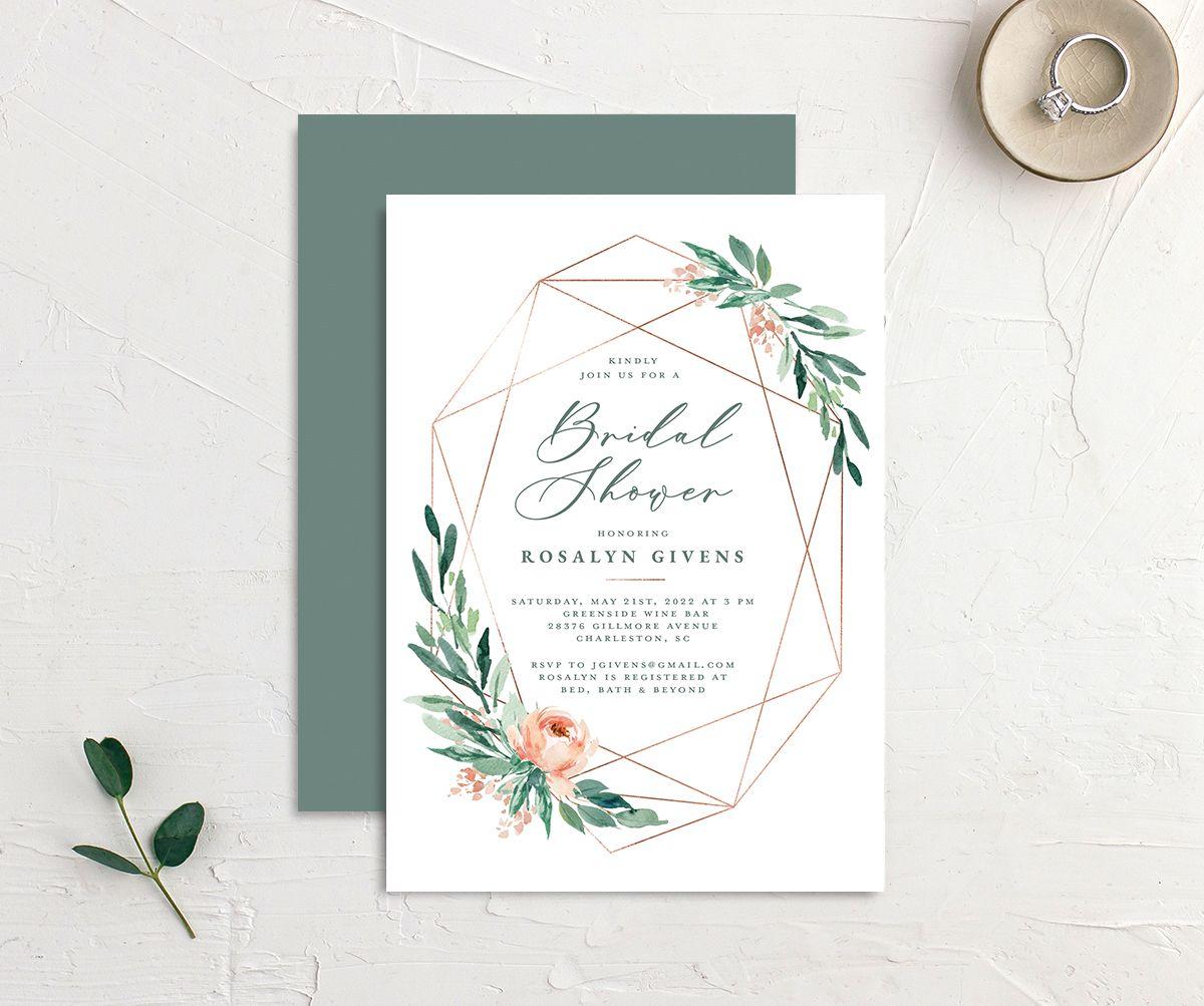 Gilded Botanical Bridal Shower Invitation front & back in green