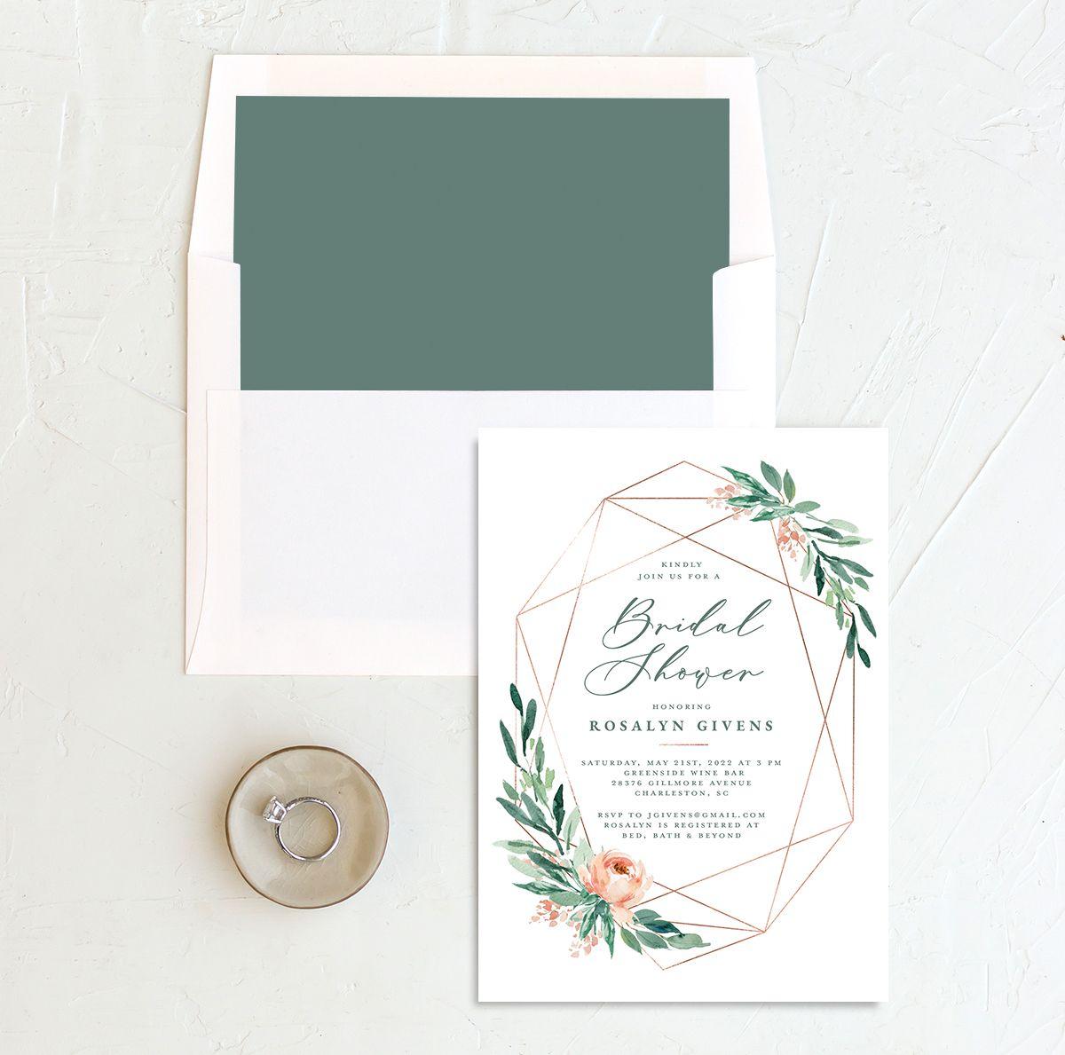 Gilded Botanical Bridal Shower Invitation front with DIY liner in green