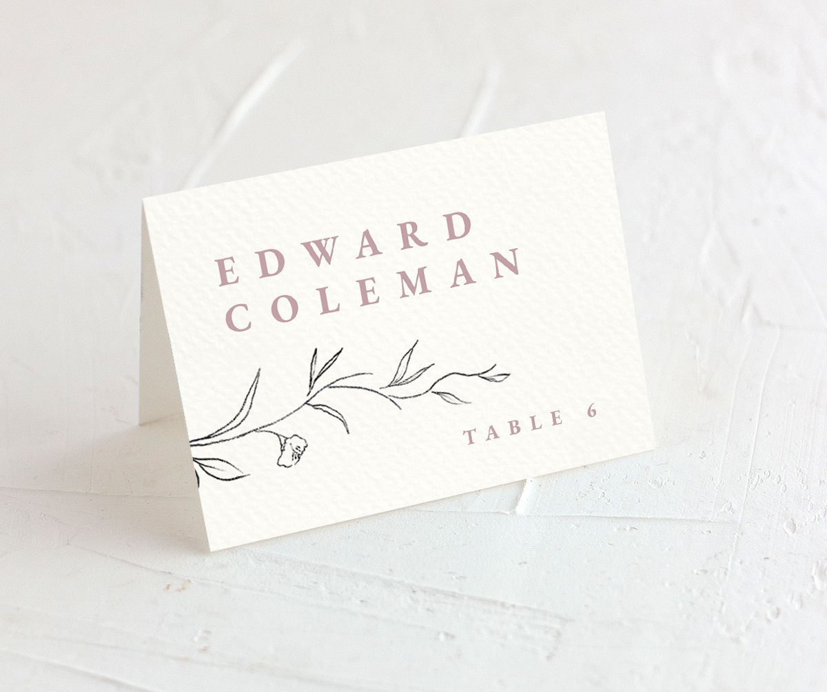 Graceful Botanical Place Card front in pink