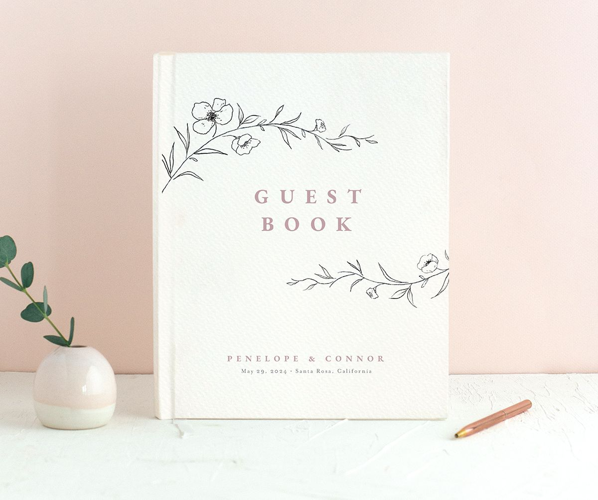 Graceful Botanical Guest Book in pink