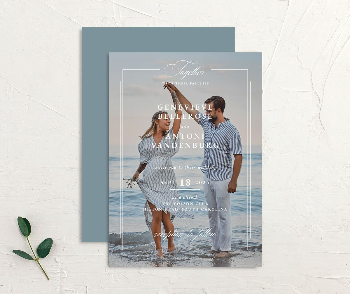 Elegant Photograph wedding invitation front and back in white