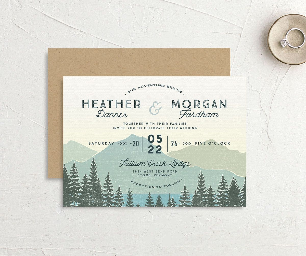 Vintage Mountain wedding invitation front and back in teal