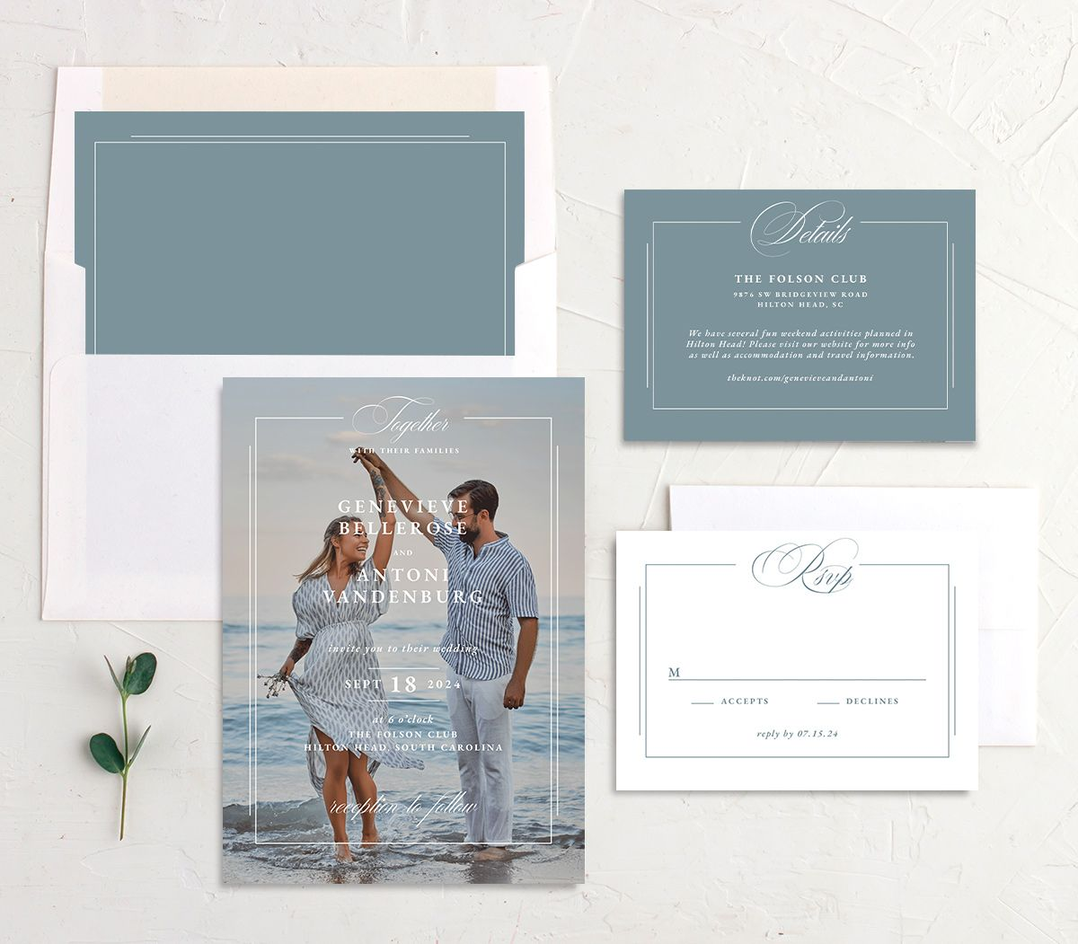 Elegant Photograph wedding stationery suite in white