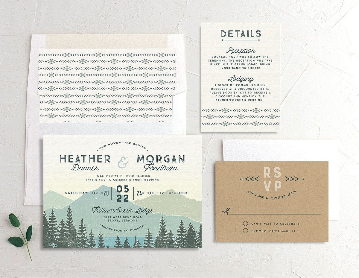 Vintage Mountain wedding stationery suite in teal