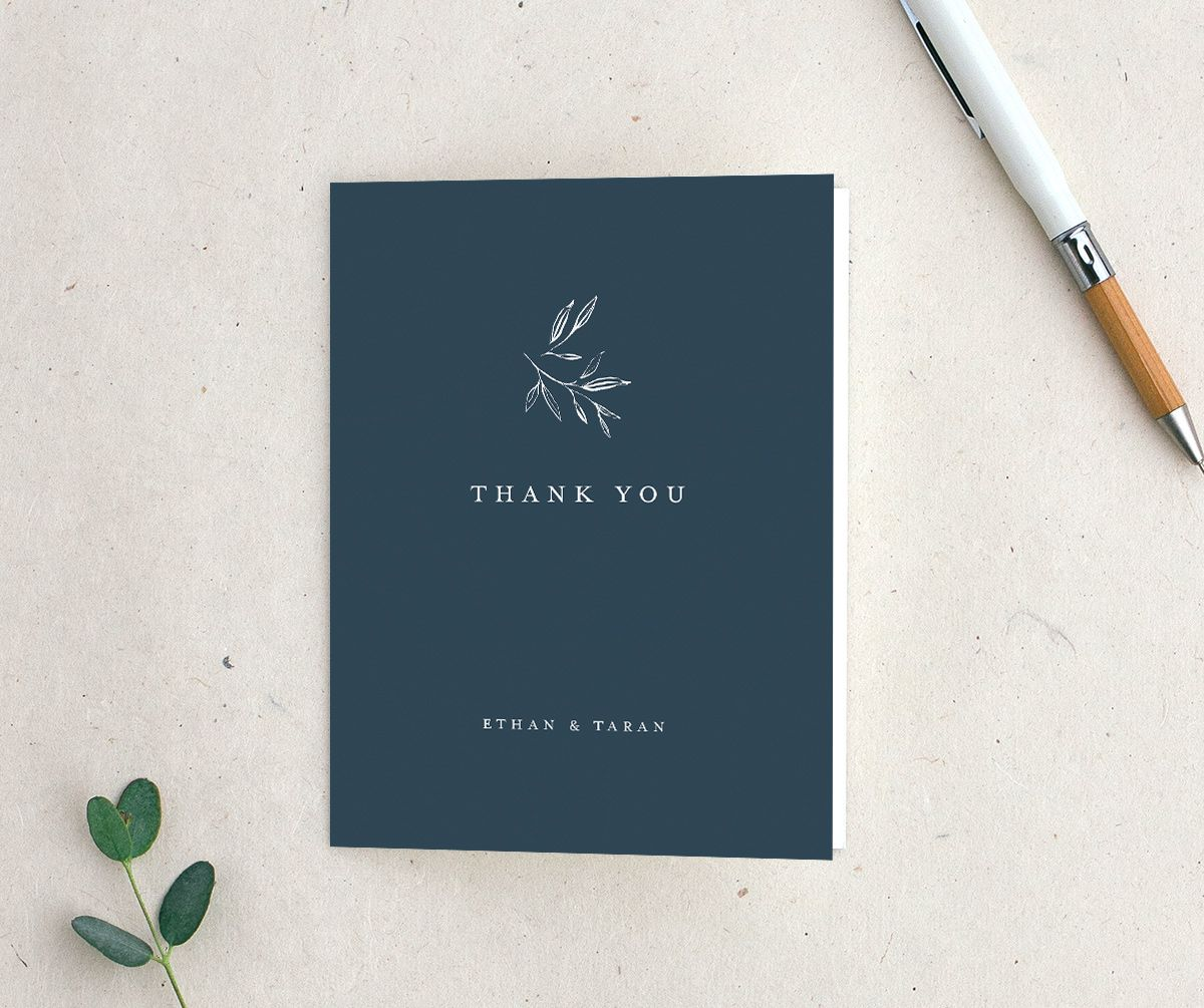 Minimal Leaves Thank You Card in blue