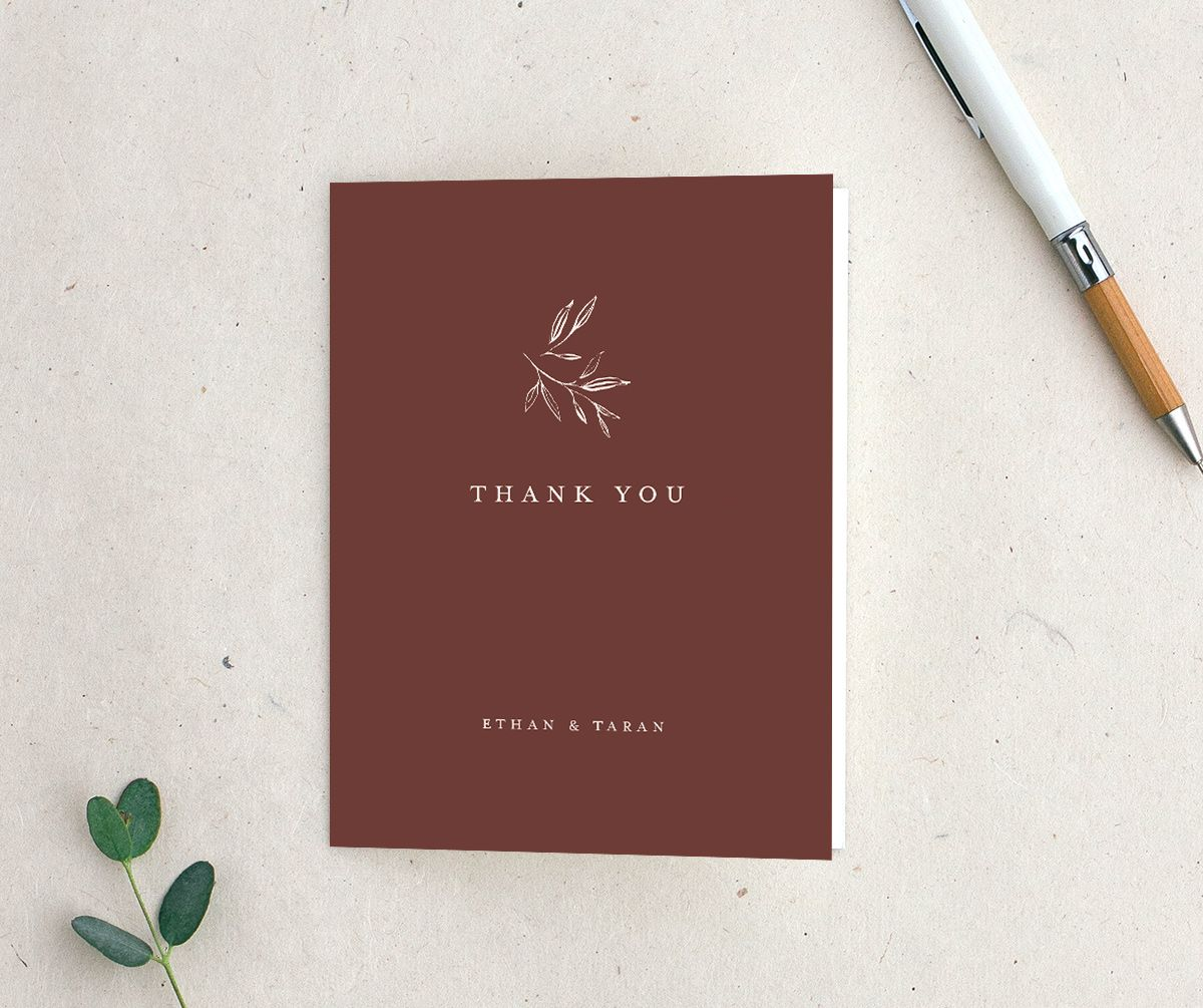 Minimal Leaves Thank You Card in burgundy
