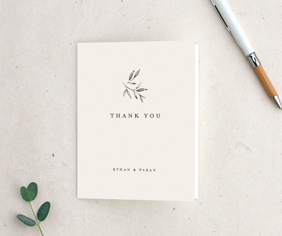 Minimal Leaves Thank You Card in cream