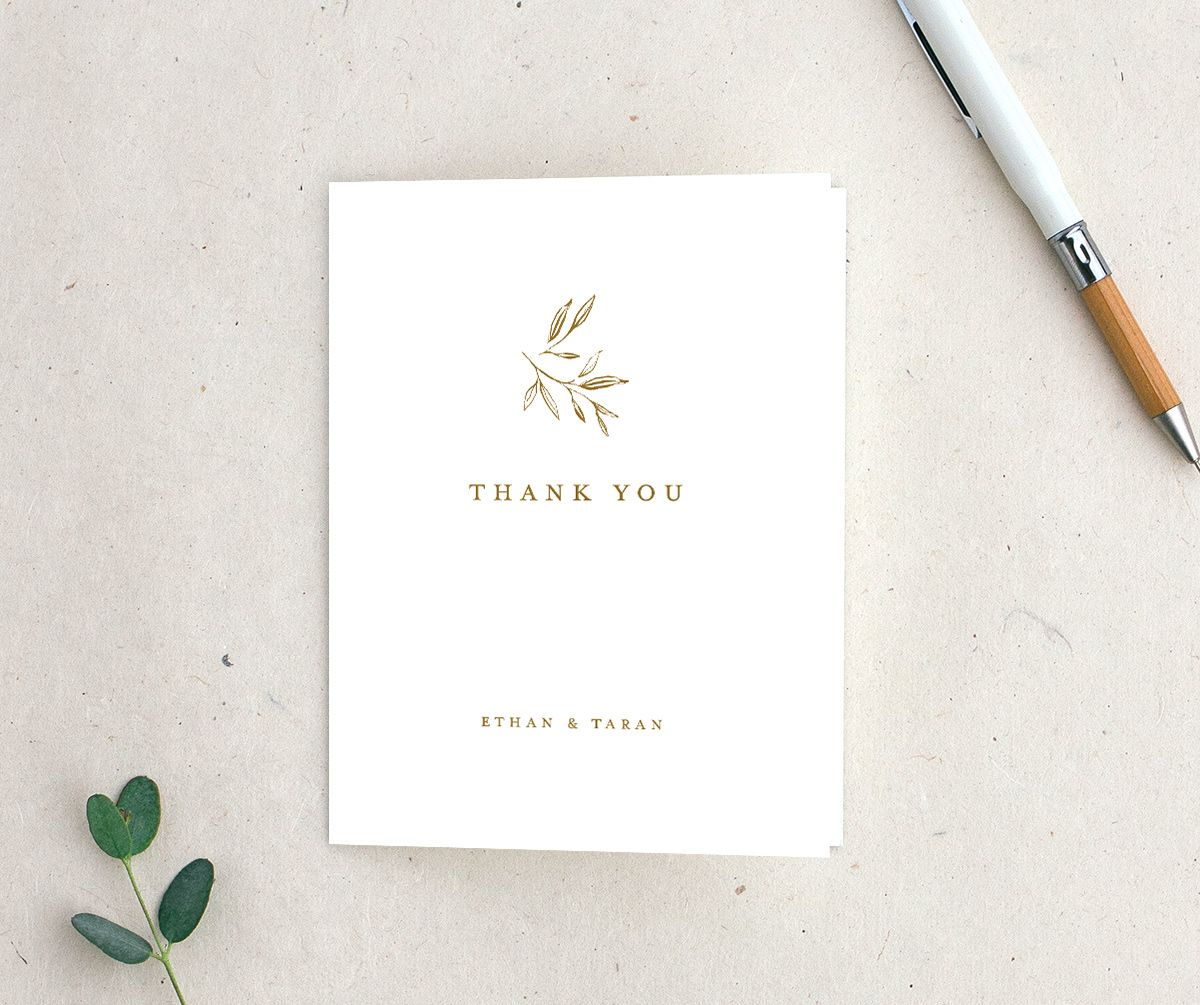 Minimal Leaves Thank You Card in gold