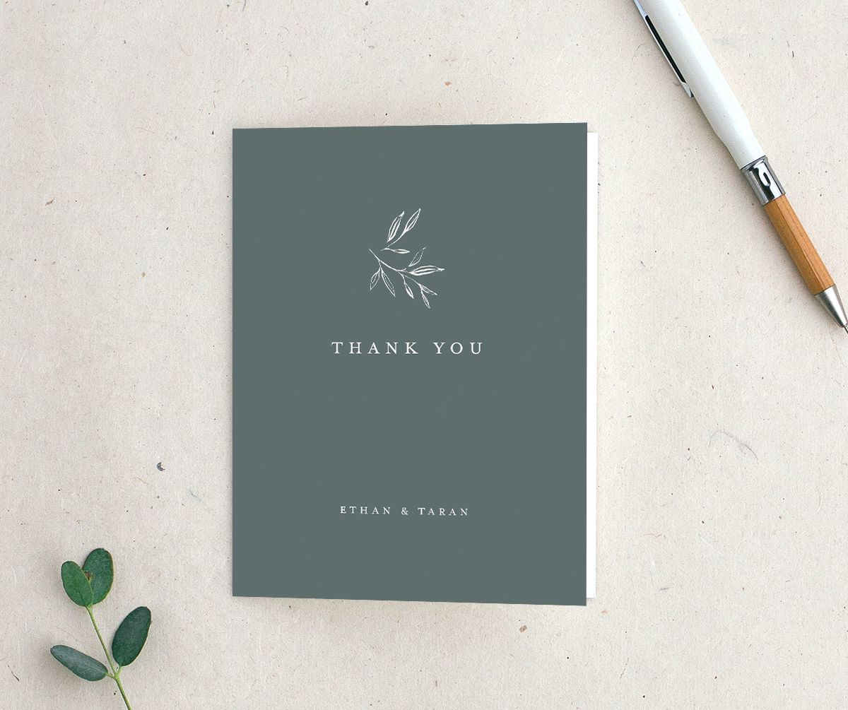 Minimal Leaves Thank You Card in green