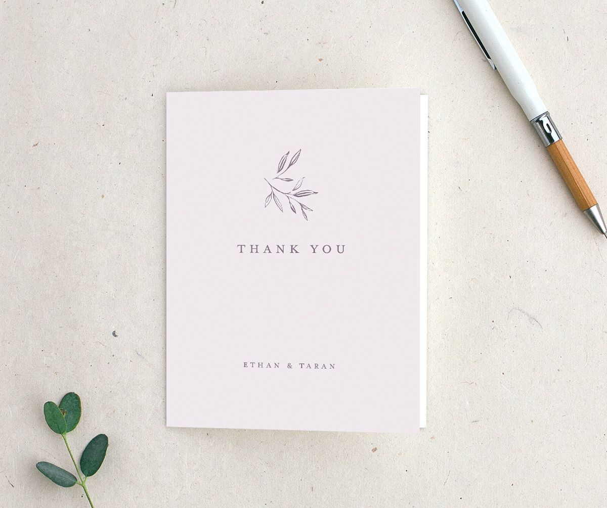 Minimal Leaves Thank You Card in lavender