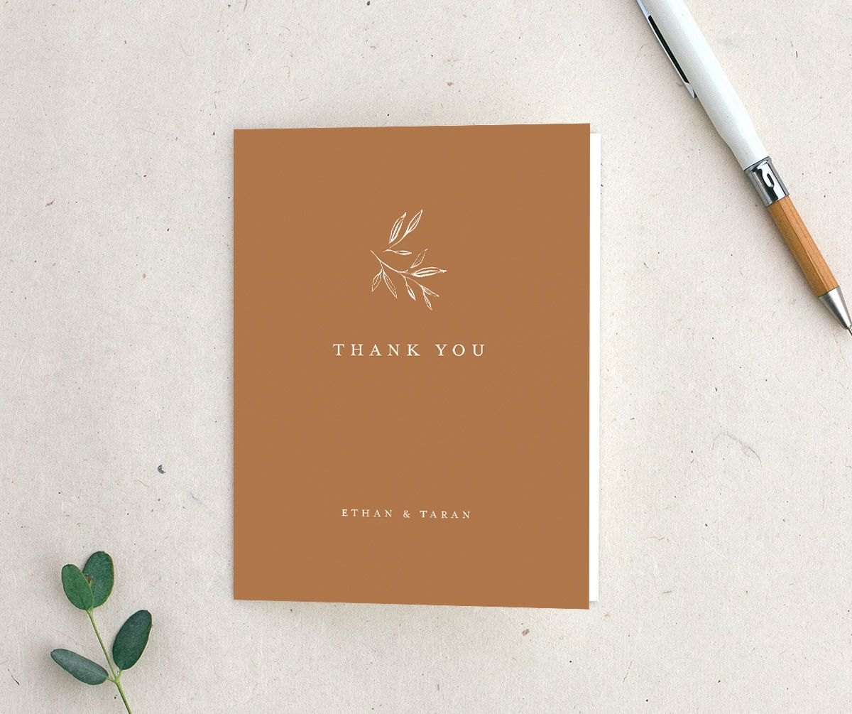 Minimal Leaves Thank You Card in orange
