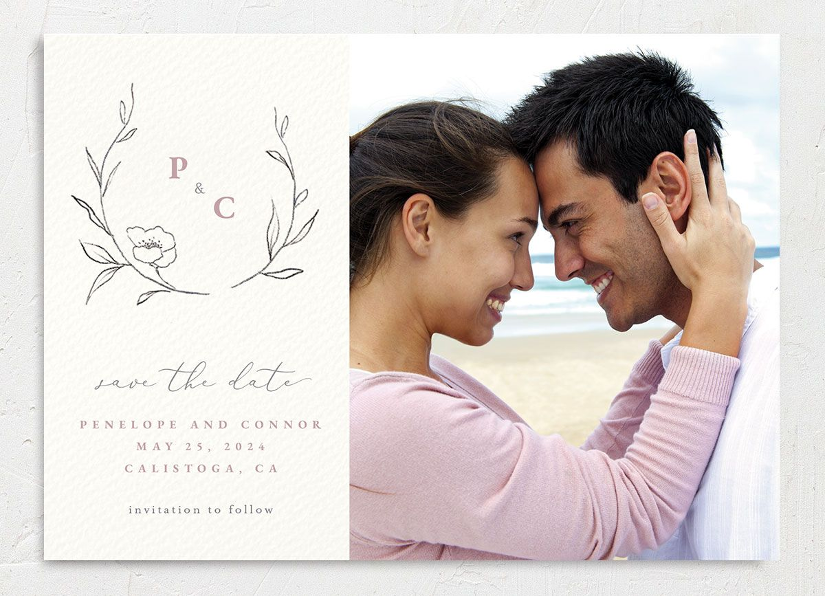 Graceful Botanical Save the Date front closeup in pink