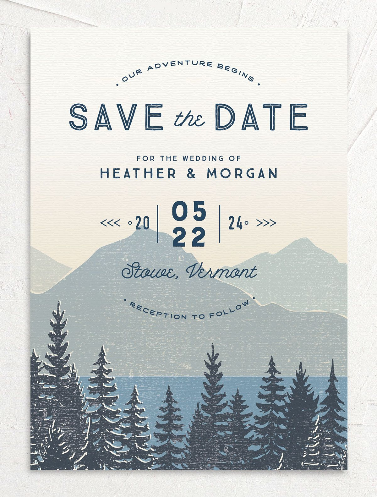 Vintage Mountainside Save the Date card front in blue