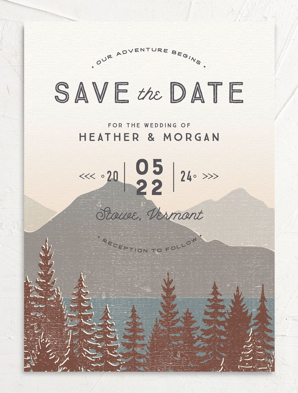 Vintage Mountainside Save the Date card front in brown