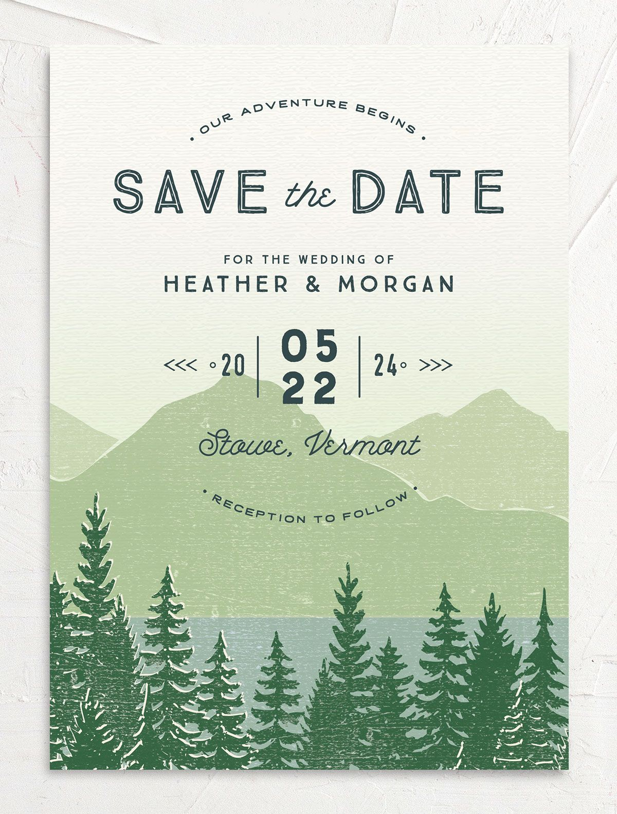 Vintage Mountainside Save the Date card front in green