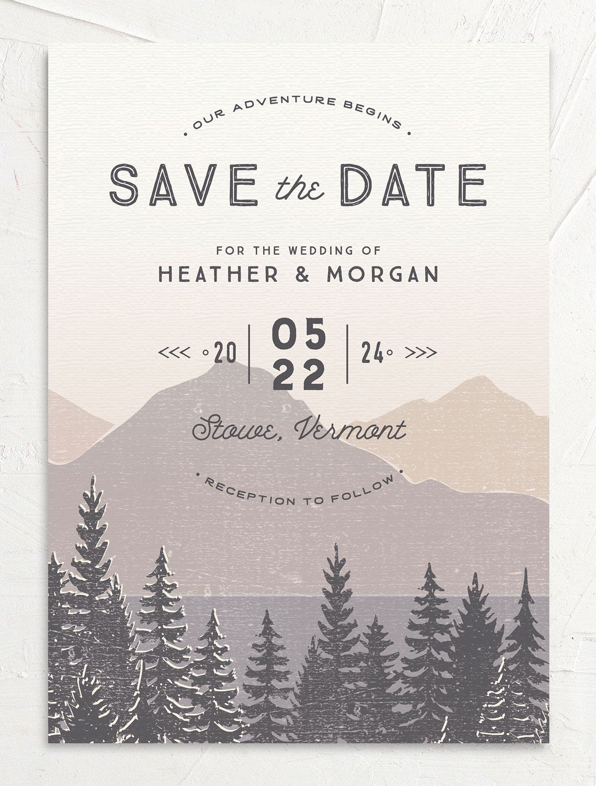 Vintage Mountainside Save the Date card front in grey