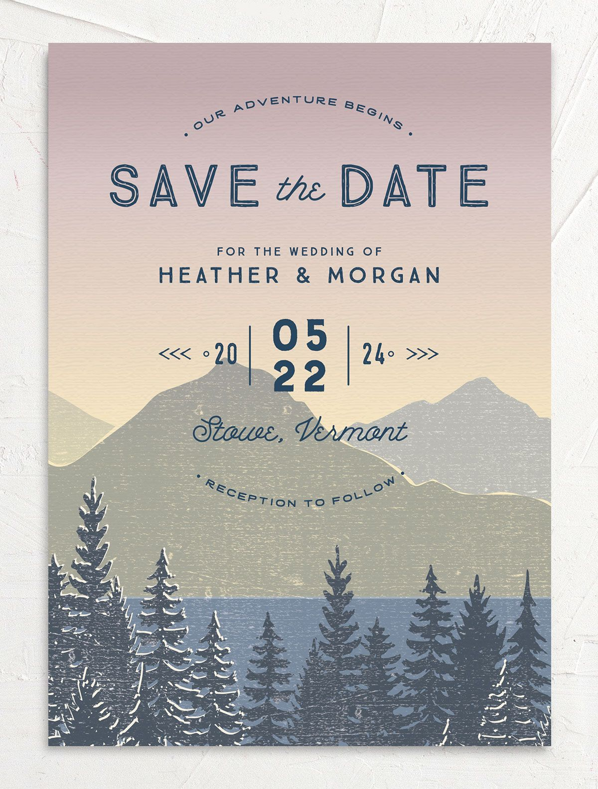 Vintage Mountainside Save the Date card front in pink
