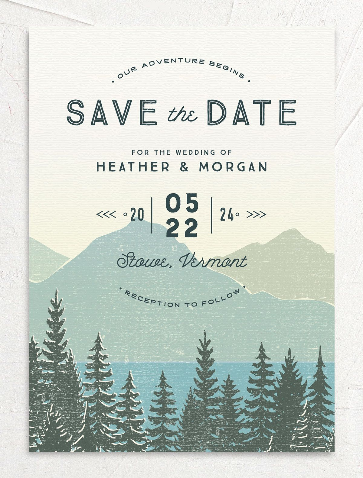 Vintage Mountainside Save the Date card front in teal