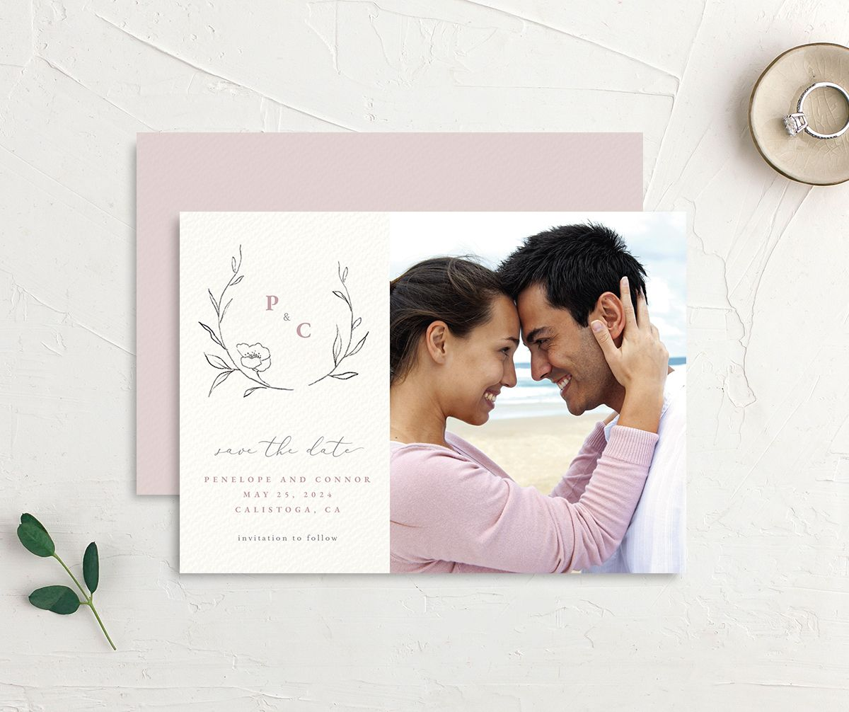 Graceful Botanical Save the Date front & back in pink