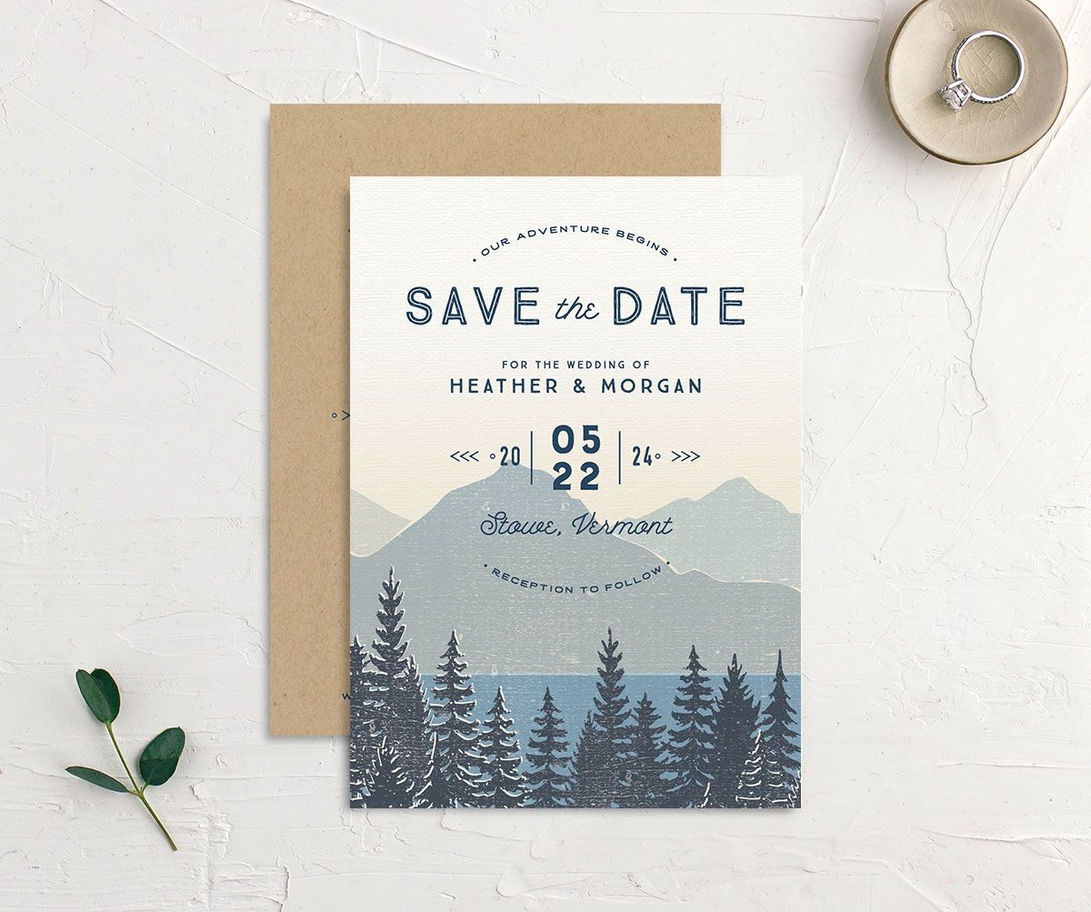 Vintage Mountainside Save the Date front and back in blue