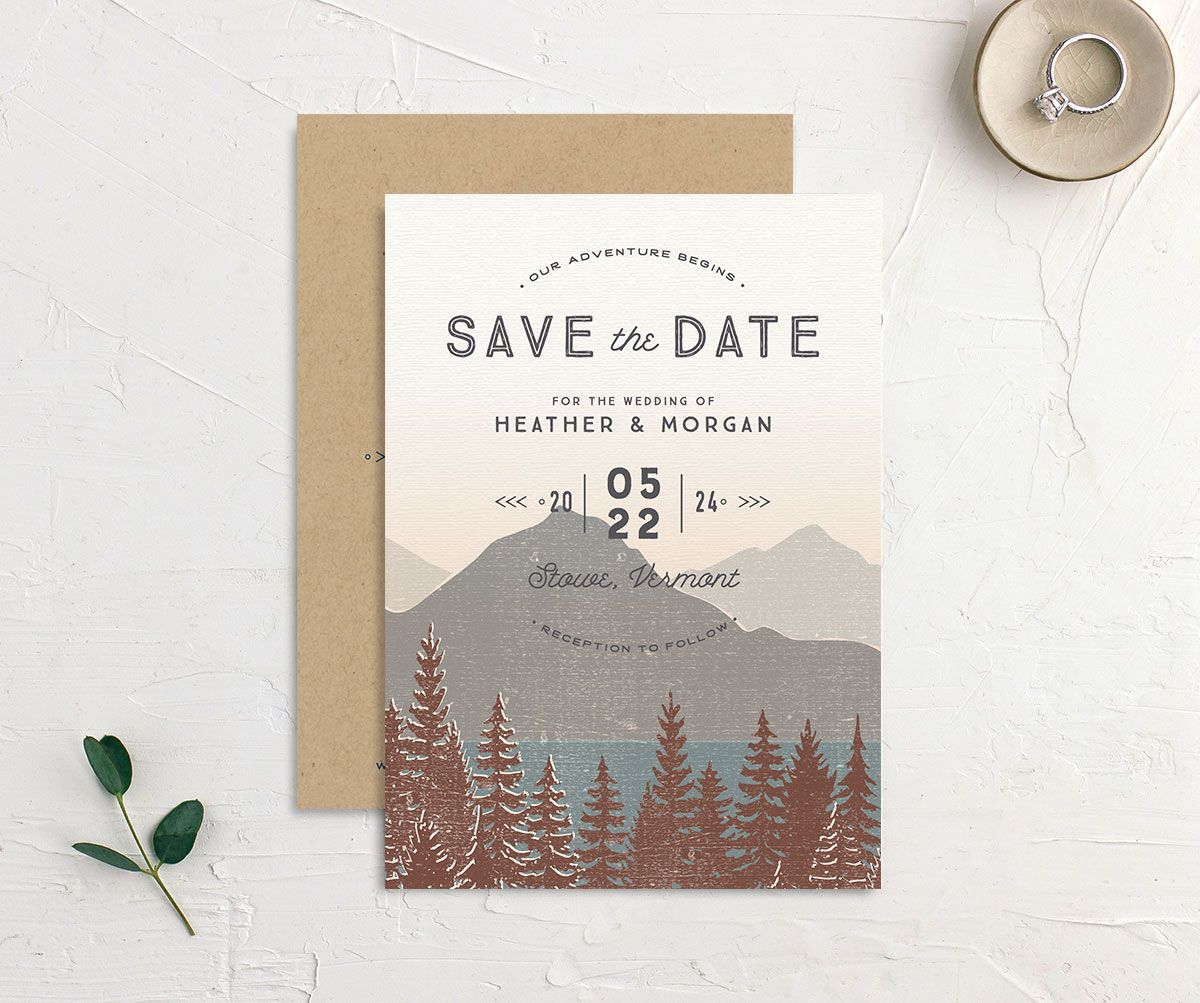 Vintage Mountainside Save the Date front and back in brown