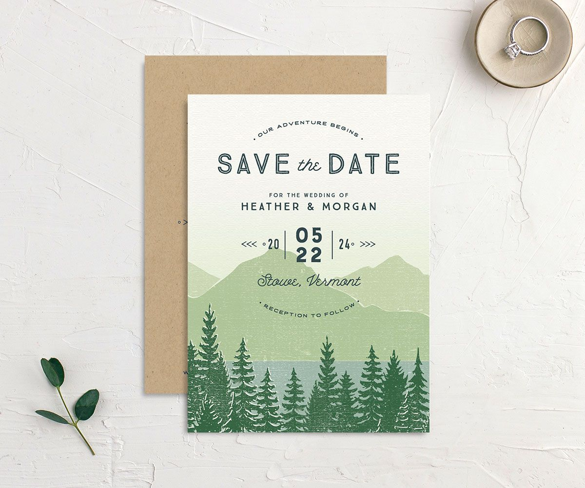 Vintage Mountainside Save the Date front and back in blgreenue