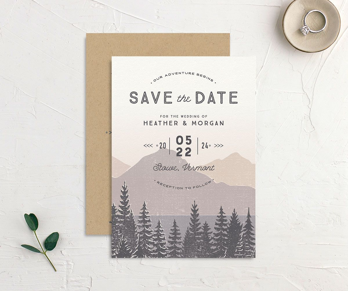 Vintage Mountainside Save the Date front and back in grey