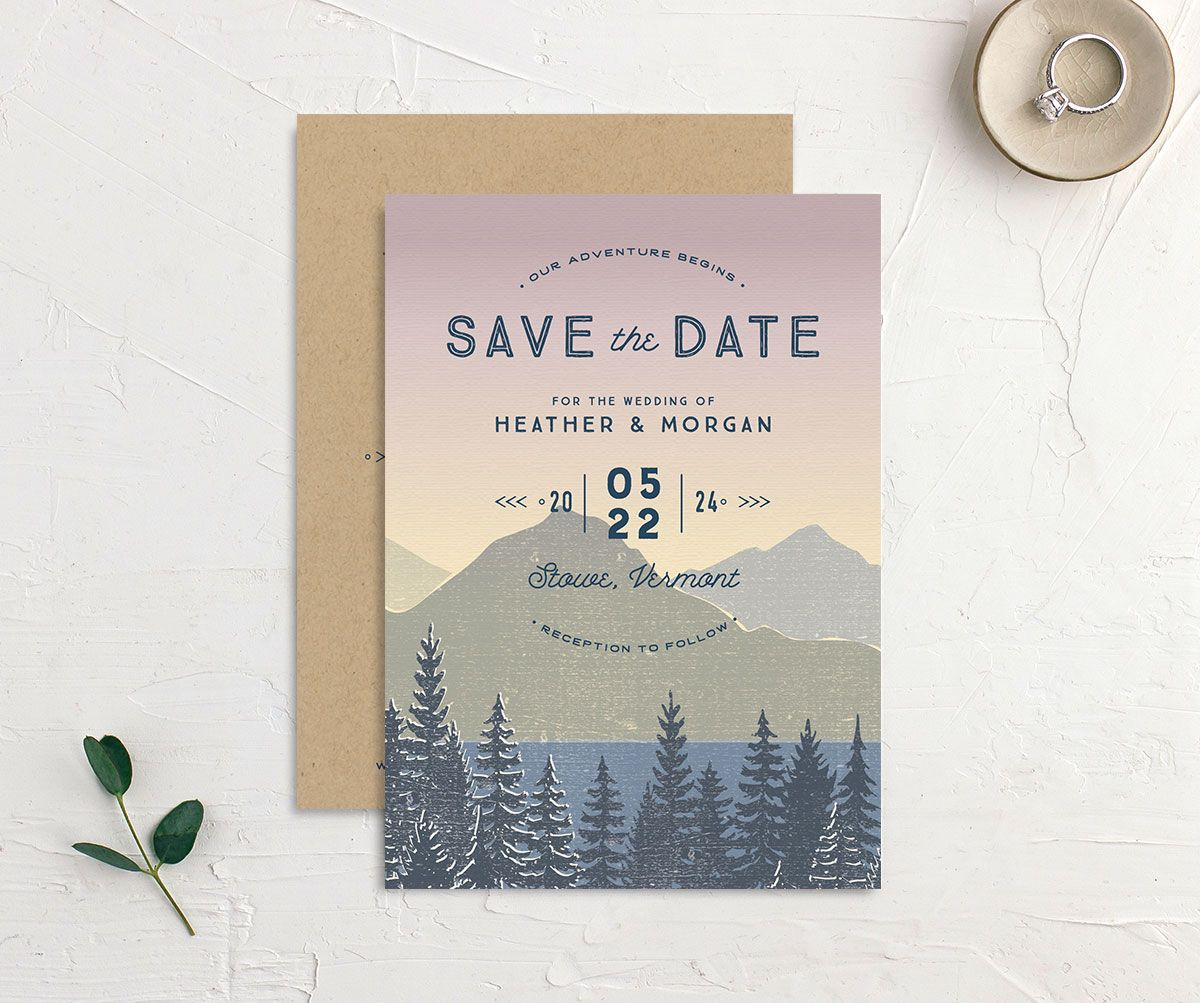 Vintage Mountainside Save the Date front and back in pink