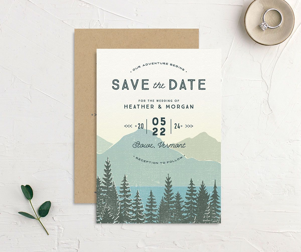 Vintage Mountainside Save the Date front and back in teal