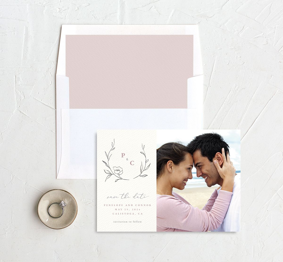 Graceful Botanical Save the Date front with DIY liner in pink