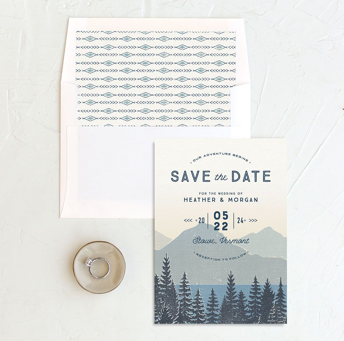 Vintage Mountainside Save the Date and envelope liner in blue