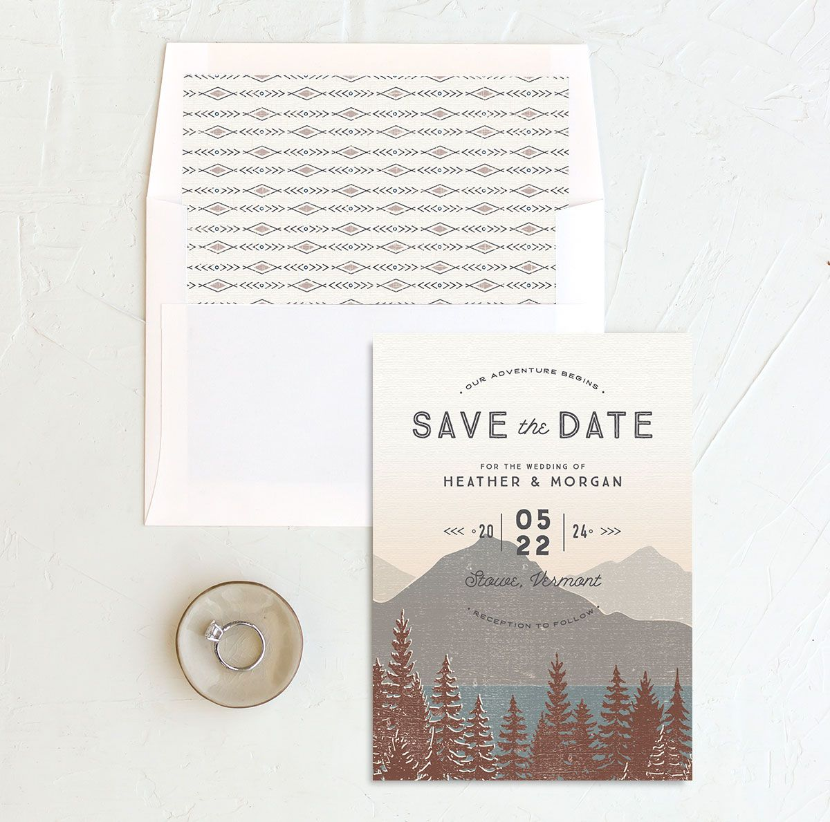Vintage Mountainside Save the Date and envelope liner in brown