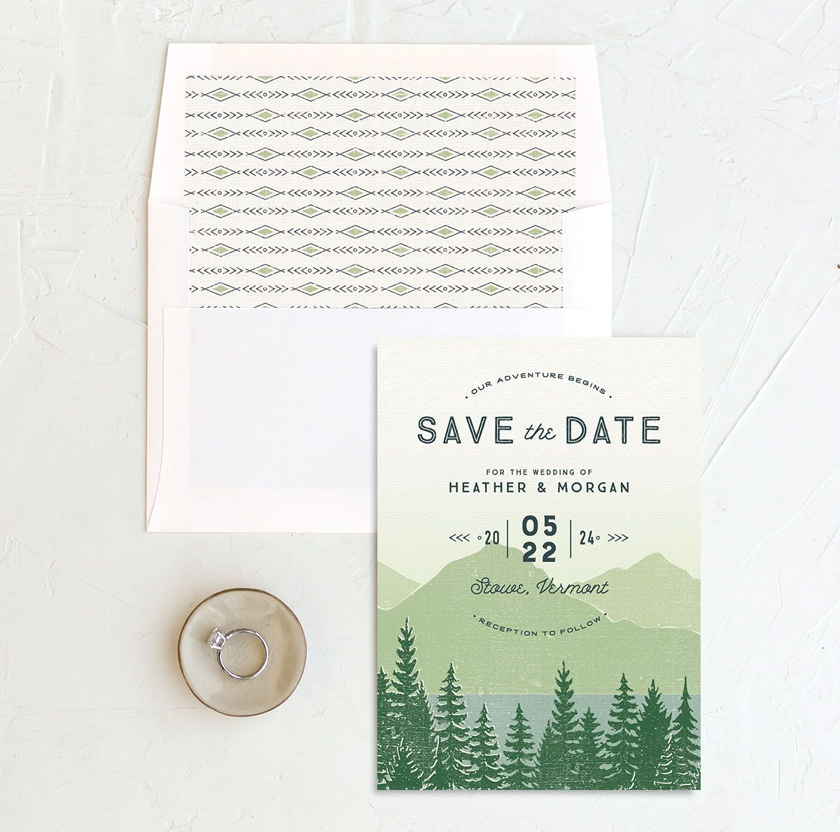 Vintage Mountainside Save the Date and envelope liner in green
