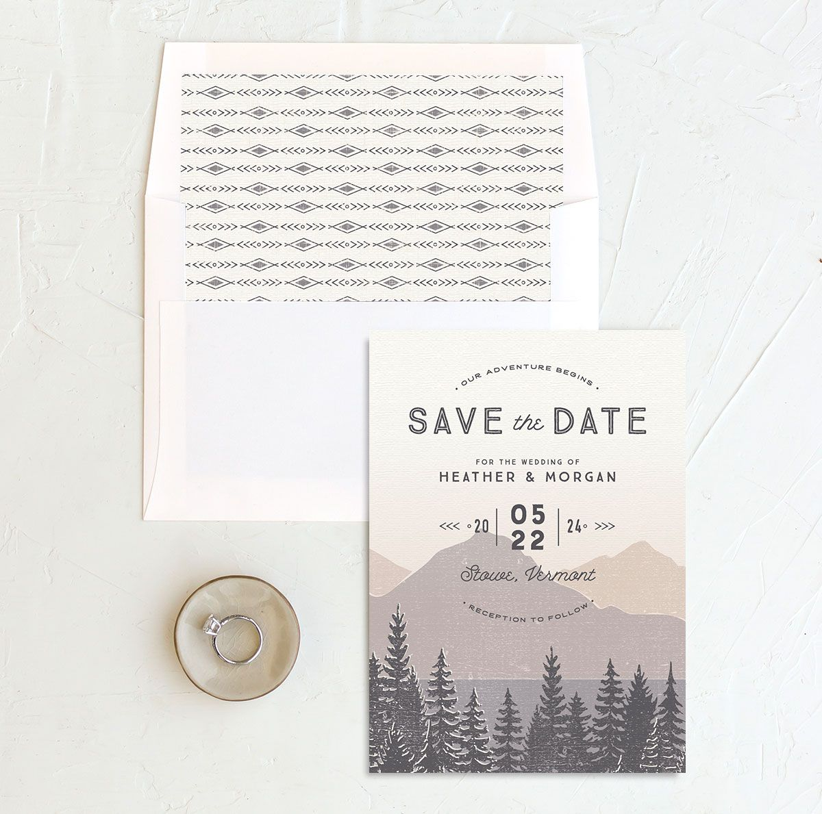 Vintage Mountainside Save the Date and envelope liner in grey