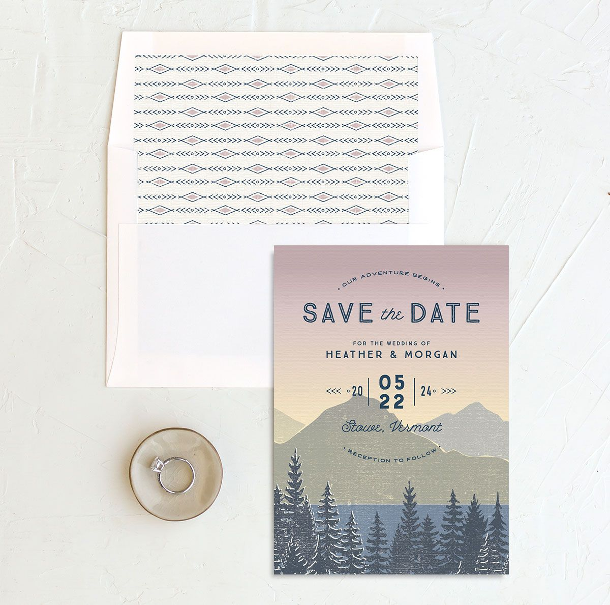 Vintage Mountainside Save the Date and envelope liner in pink
