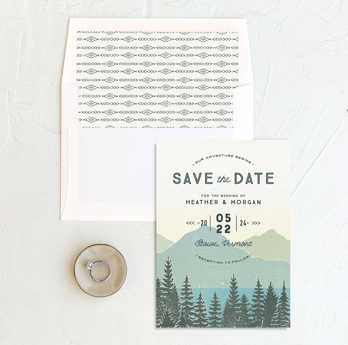 Vintage Mountainside Save the Date and envelope liner in teal